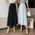 skirt Summer 2021 S,M,L,XL Blue, black Mid length dress commute High waist A-line skirt Solid color Type A 18-24 years old B321 51% (inclusive) - 70% (inclusive) other polyester fiber Korean version