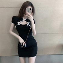 Dress Summer 2021 black S, M Short skirt singleton  Short sleeve commute Crew neck High waist Solid color Socket A-line skirt routine 18-24 years old Type A Korean version ay152 51% (inclusive) - 70% (inclusive) other