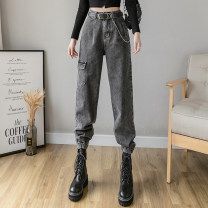 Casual pants Denim blue, smoke grey S,M,L,XL Spring 2021 trousers Straight pants High waist commute routine 18-24 years old 51% (inclusive) - 70% (inclusive) QA6158 other Korean version pocket cotton