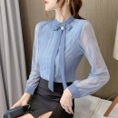 Lace / Chiffon Spring 2021 Apricot, blue S,M,L,XL,2XL Long sleeves commute Socket singleton  Straight cylinder Regular stand collar Solid color routine 18-24 years old ay559 Bowknot, tuck, lace, stitching, lace Korean version 51% (inclusive) - 70% (inclusive) polyester fiber