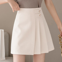 skirt Summer 2021 S,M,L,XL Apricot, black Short skirt commute High waist A-line skirt Solid color Type A 18-24 years old QA599 51% (inclusive) - 70% (inclusive) other Button Korean version