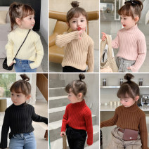 Sweater / sweater 90cm,100cm,110cm,120cm,130cm other female Off white, black, gray, red, khaki, coffee, pink Other / other Korean version There are models in the real shooting Socket routine High collar nothing Ordinary wool Solid color Dd7 color pit stripe sweater