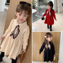 Dress Red, black, beige, beige plush, red plush, black plush female Other / other 90cm,100cm,110cm,120cm,130cm Other 100% winter Korean version Long sleeves Solid color cotton Pleats DD silk scarf sweater dress