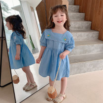 Dress Lake blue, pink female Other / other 90cm,100cm,110cm,120cm,130cm Other 100% summer Korean version Short sleeve other cotton Pleats YM embroidered doll dress 7 years old, 12 months old, 3 years old, 18 months old, 9 months old, 6 months old, 2 years old, 5 years old, 4 years old, 6 years old