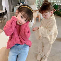 Sweater / sweater 80cm,90cm,100cm,110cm,120cm,130cm other female Off white, red Other / other Korean version There are models in the real shooting Socket thickening High collar nothing Ordinary wool Solid color