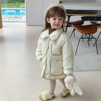 Cotton padded jacket female nothing Cotton 96% and above Other / other Off white, skin powder 90cm,100cm,110cm,120cm,130cm,140cm thickening Single breasted Korean version There are models in the real shooting Solid color cotton Lapel Cotton liner YGM diamond check cotton padded clothes