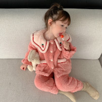 Home suit Other / other 80cm,90cm,100cm,110cm,120cm,130cm Strawberry, bow winter female 12 months, under 1 year old, 18 months, 2 years old, 3 years old, 4 years old, 5 years old, 6 years old, 7 years old Keep warm at home Flannel BLM Plush home wear