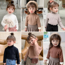 T-shirt White, black, khaki, deep coffee, light coffee, grey bar, coffee bar, black bar Other / other 90cm,100cm,110cm,120cm,130cm,140cm female winter Long sleeves High collar Korean version There are models in the real shooting nothing cotton Solid color