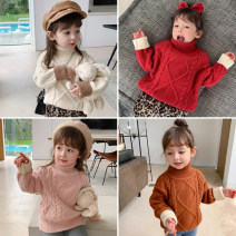 Sweater / sweater 90cm,100cm,110cm,120cm,130cm,140cm other female Off white, red, pink, caramel Other / other Korean version There are models in the real shooting Socket thickening High collar nothing Ordinary wool Solid color DD four color twist sleeve sweater