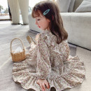 Dress violet female Other / other 90cm,100cm,110cm,120cm,130cm Other 100% spring and autumn Korean version Long sleeves Broken flowers Chiffon Pleats 12 months, 6 months, 9 months, 18 months, 2 years old, 3 years old, 4 years old, 5 years old, 6 years old, 7 years old