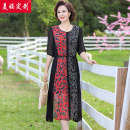 Middle aged and old women's wear Summer 2020 black L,XL,2XL,3XL,4XL ethnic style Dress easy singleton  other 40-49 years old Cardigan thin Crew neck Medium length routine Y-8579
