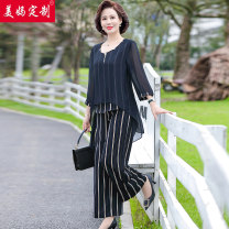 Middle aged and old women's wear Summer 2021 Navy Blue fashion suit easy Two piece set stripe 40-49 years old Socket thin Crew neck routine routine Y-8832 pocket A button