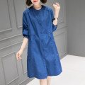 Dress Summer 2021 Blue Orange M L Mid length dress singleton  Long sleeves commute Crew neck Loose waist Solid color Single breasted other routine Others 40-49 years old Type H Han Sheba Li Korean version Button 3F993B 51% (inclusive) - 70% (inclusive) other cotton Cotton 65% polyester 35%