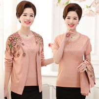 Middle aged and old women's wear Summer of 2019, spring of 2019, autumn of 2019 fashion Knitwear / cardigan easy Two piece set Flower and bird pattern 40-49 years old Cardigan moderate Crew neck routine routine Gisella Diamond inlay 31% (inclusive) - 50% (inclusive)