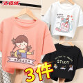 T-shirt Beijirog / Arctic velvet 110cm 120cm 130cm 140cm 150cm 160cm 165cm female summer Short sleeve Crew neck leisure time There are models in the real shooting nothing cotton Cartoon animation Cotton 100% TUS103410 Class B Summer 2021 Chinese Mainland
