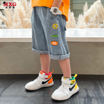 trousers Mizoguo male 110cm 120cm 130cm 140cm 150cm 160cm Denim blue is big enough summer trousers leisure time There are models in the real shooting Jeans Leather belt middle-waisted Cotton blended fabric Don't open the crotch Class B Summer 2021