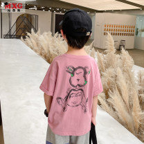 T-shirt Black and pink 110 / 120 / 140 pre sold for 5 days Mizoguo 110cm 120cm 130cm 140cm 150cm 160cm male summer Crew neck leisure time There are models in the real shooting nothing other printing Cotton 100% mdtx21222 Class B Summer 2021 Four, five, six, seven, eight, nine, ten, eleven, twelve
