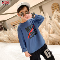 T-shirt Blue and white are big enough Mizoguo 110cm 120cm 130cm 140cm 150cm 160cm male spring and autumn Long sleeves Crew neck leisure time There are models in the real shooting nothing Pure cotton (100% cotton content) other Cotton 100% mctx21107 Class B Sweat absorption Spring 2021