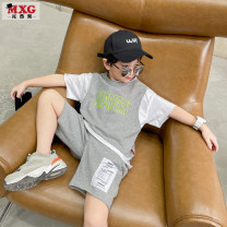 suit Mizoguo Grey Size enough, don't be greedy 110cm 120cm 130cm 140cm 150cm 160cm 170cm male summer Short sleeve + pants 2 pieces Thin money There are models in the real shooting Socket nothing cotton children Expression of love Class B Cotton 100% Spring 2021 Chinese Mainland