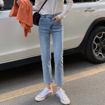Jeans Spring 2021 Light blue, black S,M,L Ninth pants High waist Straight pants routine 18-24 years old Wash, zipper, button other light colour 30% and below