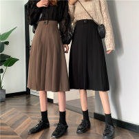 skirt Spring 2021 S, M Black, brown Mid length dress commute High waist Umbrella skirt Solid color Type A 18-24 years old 30% and below other Button Retro