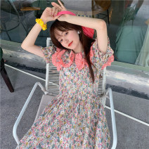 Dress Spring 2021 Off white, black Average size Mid length dress singleton  Short sleeve commute Doll Collar High waist Broken flowers Socket A-line skirt puff sleeve 18-24 years old Type A Retro Splicing 30% and below other