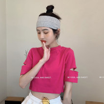 T-shirt Green, yellow, white, black, rose red, light blue Average size Summer 2021 Short sleeve Crew neck Self cultivation have cash less than that is registered in the accounts routine commute other 30% and below 18-24 years old Korean version youth