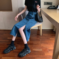skirt Spring 2021 S,M,L,XL Dark blue, light blue Mid length dress commute High waist Denim skirt other Type A 18-24 years old 30% and below other Retro