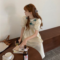Dress Summer 2021 Blue, apricot Average size Mid length dress singleton  Short sleeve commute Crew neck High waist Socket Big swing bishop sleeve Others 18-24 years old Type A Retro Embroidery 30% and below other other