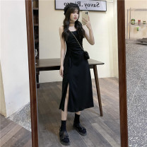 Dress Summer 2021 Long dress, short dress Average size Mid length dress singleton  Sleeveless commute High waist Solid color Socket Irregular skirt camisole 18-24 years old Type A Korean version Backless, asymmetric 30% and below other
