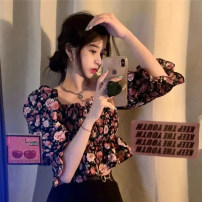 Lace / Chiffon Summer 2021 Picture color Average size Short sleeve commute Socket singleton  Self cultivation have cash less than that is registered in the accounts square neck Decor puff sleeve 18-24 years old Korean version 30% and below