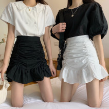 skirt Spring 2021 S,M,L White, black Short skirt commute High waist skirt Solid color Type A 18-24 years old 30% and below other fold Korean version
