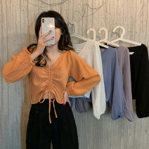 shirt Black, white, purple, blue, orange Average size Spring 2021 other 30% and below Long sleeves commute Short style (40cm < length ≤ 50cm) V-neck Socket puff sleeve Solid color 18-24 years old Self cultivation Korean version fold
