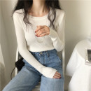 Wool knitwear Autumn 2020 Average size Long sleeves singleton  Socket other 30% and below Regular Thin money commute Self cultivation Low crew neck routine Solid color Socket Korean version 18-24 years old