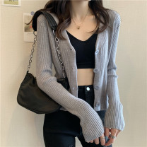 Wool knitwear Spring 2021 Average size Apricot, gray, white, purple, black, pink, water blue Long sleeves singleton  Cardigan other 30% and below have cash less than that is registered in the accounts routine commute Self cultivation V-neck routine Solid color Single breasted Korean version Button