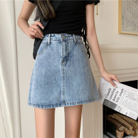 skirt Summer 2021 S,M,L,XL Blue, gray Short skirt commute High waist A-line skirt Solid color Type A 18-24 years old 30% and below other Korean version