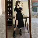 Dress Summer 2021 black S, M Mid length dress singleton  Short sleeve commute square neck High waist Solid color Socket Irregular skirt routine Others 18-24 years old Type A Retro Bow, Ruffle 30% and below other