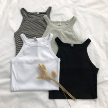 Vest sling Spring 2021 White, gray, black, stripe Average size singleton  routine Self cultivation commute camisole stripe 18-24 years old 30% and below polyester fiber