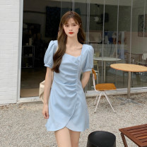Dress Summer 2021 Yellow, blue, black S, M Short skirt singleton  Short sleeve commute square neck High waist Solid color Socket Irregular skirt puff sleeve Others 18-24 years old Type A Korean version Splicing 30% and below other