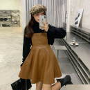 Dress Spring 2021 Single leather skirt with back strap, single sweater with backing Average size Short skirt singleton  Sleeveless commute High waist Solid color Socket A-line skirt straps 18-24 years old Type A Retro 30% and below other