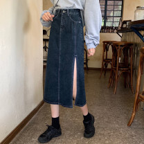 skirt Spring 2021 S,M,L,XL navy blue Mid length dress commute High waist Denim skirt Solid color Type H 18-24 years old 30% and below other Button, zipper Korean version