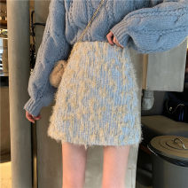 skirt Spring 2021 S,M,L Light blue, classic black Short skirt commute High waist A-line skirt Type A 18-24 years old 30% and below other Korean version