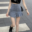 skirt Summer 2021 S,M,L Wash blue Short skirt commute High waist A-line skirt Solid color Type A 18-24 years old 30% and below Asymmetry, button