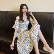 Dress Summer 2021 White, black Average size Mid length dress singleton  Short sleeve commute V-neck High waist Decor other A-line skirt pagoda sleeve 18-24 years old Type A Korean version Lotus leaf edge 30% and below other