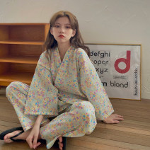 Pajamas / housewear set female Other / other Average size Green flowers other Middle sleeve Simplicity pajamas spring routine V-neck Plants and flowers trousers Tether youth 2 pieces Tether 21% (inclusive) - 40% (inclusive) printing