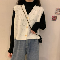 Wool knitwear Autumn 2020 Average size Off white, taro purple, brick red, haze blue, water yellow, milk apricot, coffee, white, black and apricot Sleeveless singleton  Cardigan other 30% and below have cash less than that is registered in the accounts routine commute easy V-neck Solid color Button