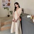 Dress Broken flower Summer 2021 Medium length skirt Short sleeve singleton  commute V-neck High waist routine A-line skirt Condom 18-24 years old other 30% and below printing Type A Korean version One size fits all