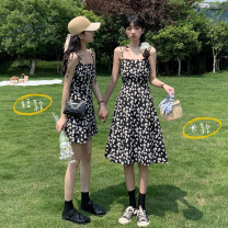Dress Spring 2021 Long, short Average size Short skirt singleton  Sleeveless commute One word collar High waist Decor Socket A-line skirt camisole 18-24 years old Type A Korean version Frenulum 30% and below other other