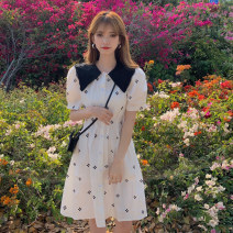 Dress Summer 2021 Black, white S, M Short skirt singleton  Short sleeve commute Doll Collar High waist lattice Socket A-line skirt puff sleeve Others 18-24 years old Type A Korean version Open back, stitching 30% and below other