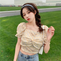 Lace / Chiffon Summer 2021 Yellow flowers, blue flowers 160/84A Short sleeve Sweet Socket Self cultivation have cash less than that is registered in the accounts square neck Decor 18-24 years old 30% and below college